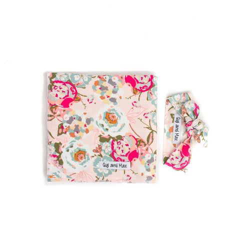 "Swaddle Light Pink Floral Blanket and Topknot - 34"" x 34"" ** please allow 2-3 weeks for processing ** - Gigi and Max"