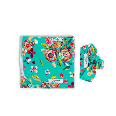 "Swaddle Teal Floral -  34"" X 34"" * please allow 2 weeks for processing time * - Gigi and Max"