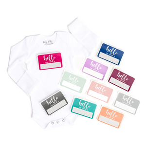 Hello My Name is Sticker and Bodysuit option - Gigi and Max