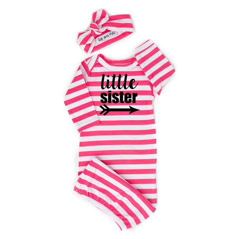 Little sister Handmade stripe gown - Pink - Gigi and Max
