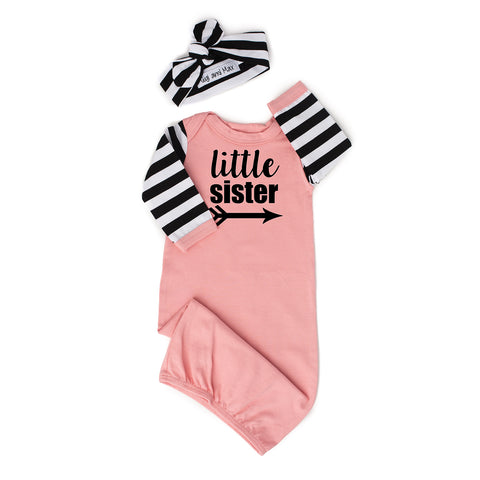 Little sister Handmade Pink and Stripe gown - Gigi and Max