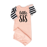 Little sis Handmade peach/pink and stripe gown - Gigi and Max