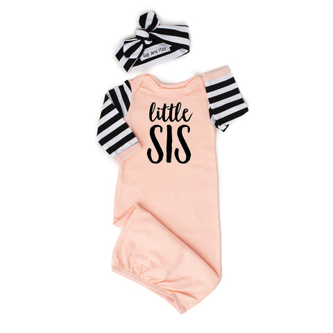 Little sis Handmade peach/pink and stripe gown ** Please allow up to 3 weeks for processing time ** - Gigi and Max