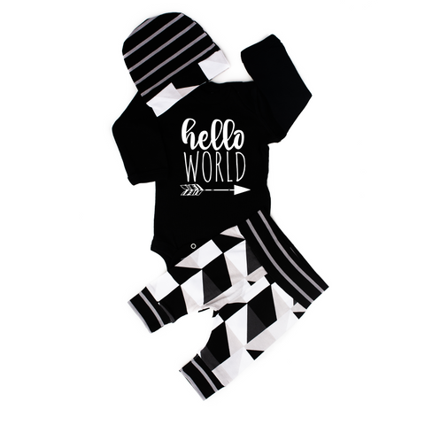 Hello World black with black and gray triangles newborn outfit - Gigi and Max