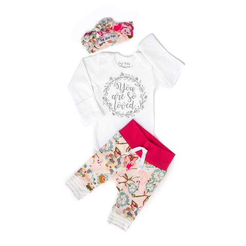 You are so Loved light pink floral Newborn Outfit - Gigi and Max