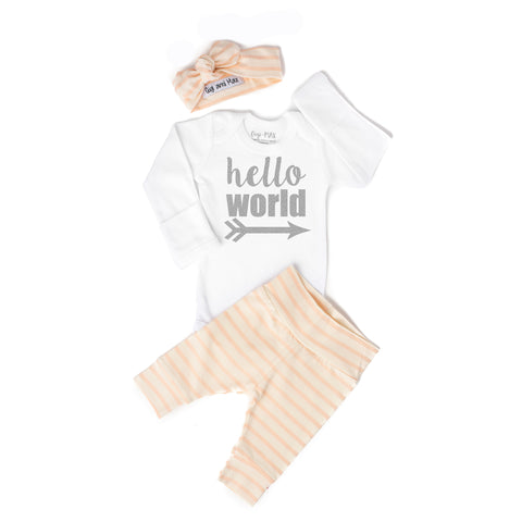 Hello World Coral Stripe Newborn Outfit - Gigi and Max