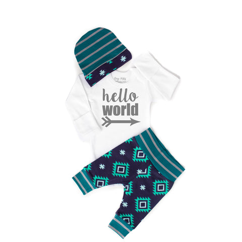 Mint and Teal Aztec Newborn Outfit - Gigi and Max