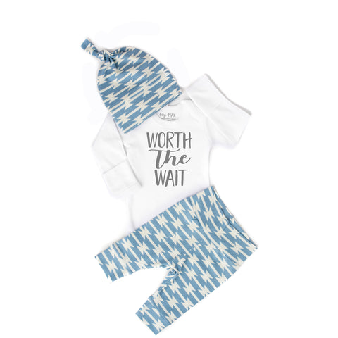 Worth the Wait Blue Geo Newborn Outfit - Gigi and Max