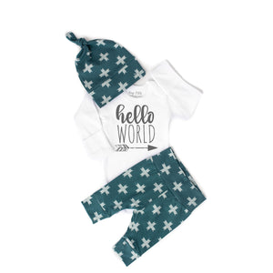 Hello World Slate Cross Newborn Outfit - Gigi and Max