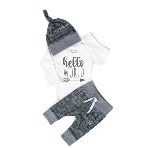 Hello World distressed Navy and Gray Newborn Outfit - Gigi and Max