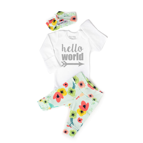 Floral on Light Blue Newborn Outfit - Gigi and Max