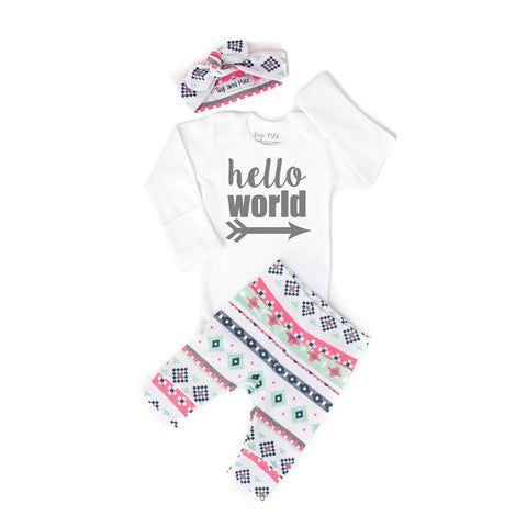 Pink Mint Charcoal Aztec Newborn Outfit - Gigi and Max