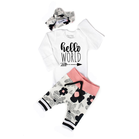 Black floral and Pink Hello World Newborn Outfit - Gigi and Max