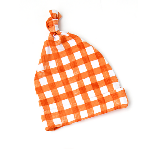Riley Orange Gingham Newborn knot hat - Gigi and Max