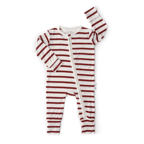 Rory Maroon Stripe Zip One Piece - Gigi and Max