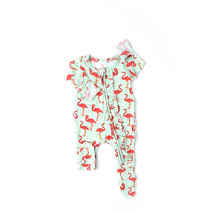 Roxy Flamingo Ruffle Newborn ZIP - Gigi and Max