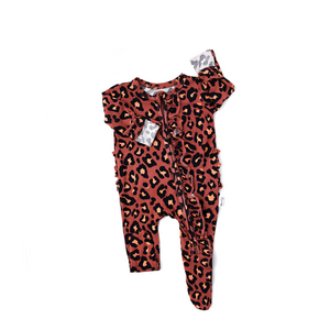 Sienna Leopard Ruffle Newborn ZIP - Gigi and Max