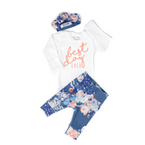 Best Day Ever Slate Floral Newborn Outfit - Gigi and Max
