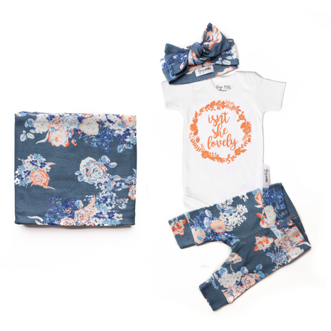 Baby Girl Newborn going home outfit and swaddle bundle (Slate Floral) - Gigi and Max