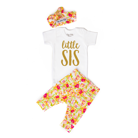 Little Sis newborn outfit Spring Floral - Gigi and Max