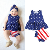 Stars and Stripes Peplum and Shorties Set Handmade (headband sold separately) - Gigi and Max