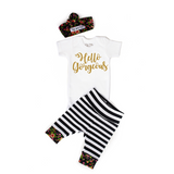 Hello Gorgeous Stripe and Floral Newborn Outfit - Gigi and Max