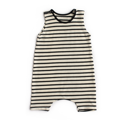 Stripe tank shorts stretchy neck romper - Gigi and Max