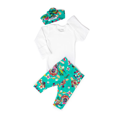 Teal Floral - Long Sleeve - Gigi and Max