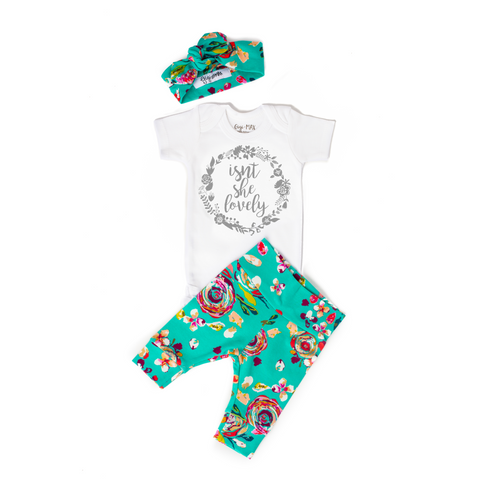 Teal Floral Silver Isn't She Lovely Newborn Outfit - Gigi and Max