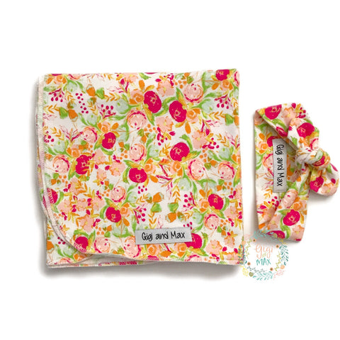 "Spring Floral Swaddle blanket - 34"" x 34"" - Gigi and Max"