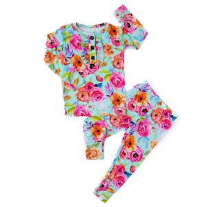 Tessa Teal Floral Ruffle Two Piece