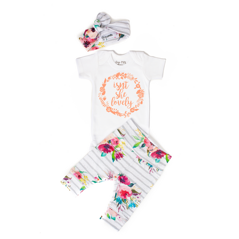 Watercolor Floral Isn't she Lovely Newborn Outfit - Gigi and Max