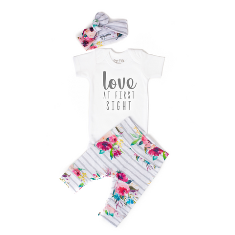 Love at First Watercolor Floral Newborn Outfit - Gigi and Max