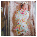 "Swaddle White and Pink Floral -  34"" X 34"" - Gigi and Max"