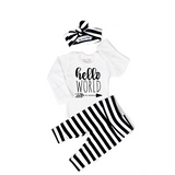 Gender Neutral Hello World set wide stripe - Gigi and Max