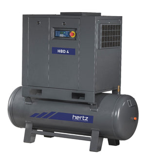 Hertz 10 HP Rotary Screw Air Compressor 40 CFM, 120 Gallon Tank, 230/460 Volt 3 Phase | HBD 7T