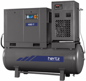Hertz 7.5 HP Rotary Screw Air Compressor 28 CFM, 120 Gallon Tank, 230/460 Volt 3 Phase with dryer| HBD 5T