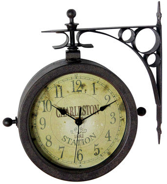 Two Sided Rustic Charleston Clock/Thermometer