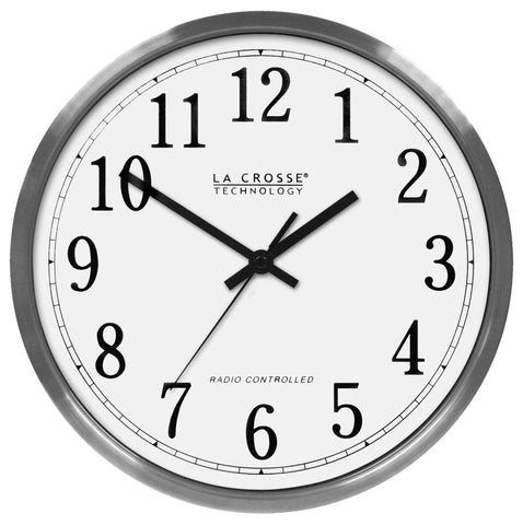 "12 "" Atomic Wall Clock Stainless Steel"
