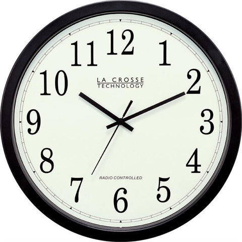 "14 "" Radio Controlled Atomic Wall Clock Black"