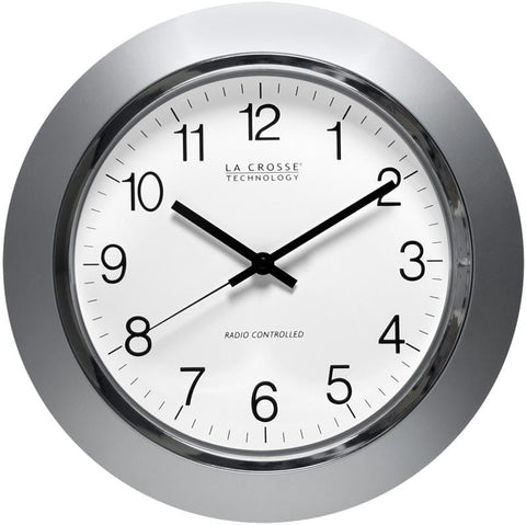 "14 "" Atomic Wall Clock Silver"