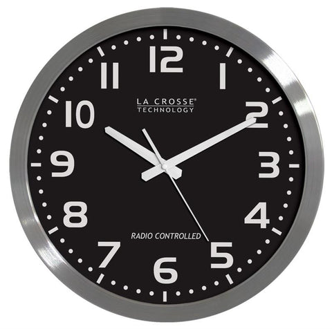 "16 "" Atomic Wall Clock Stainless Steel"