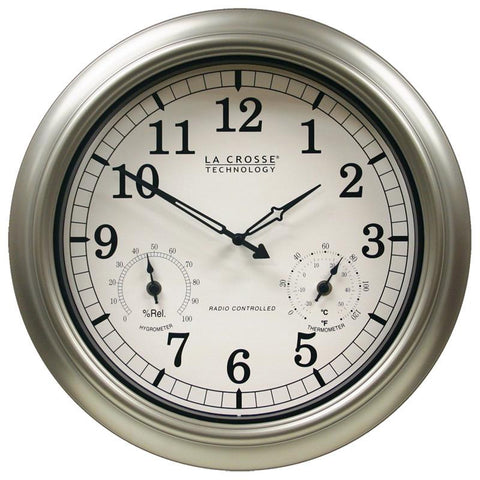 "18 "" Indoor / Outdoor Atomic Wall Clock with with Temperature & Humidity"
