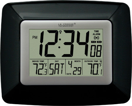 Atomic Digital Wall Clock with IN/OUT Temp - Black