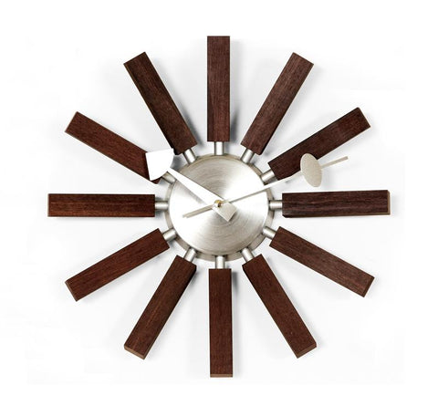 George Nelson Wood Spokes Clock-Walnut