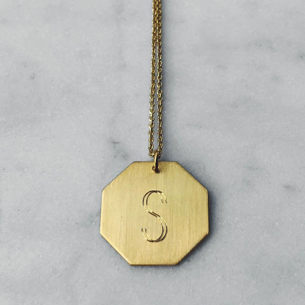 big letter necklace gold plated