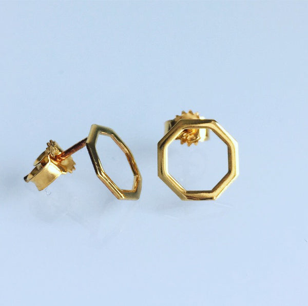 Octagon earrings gold plated