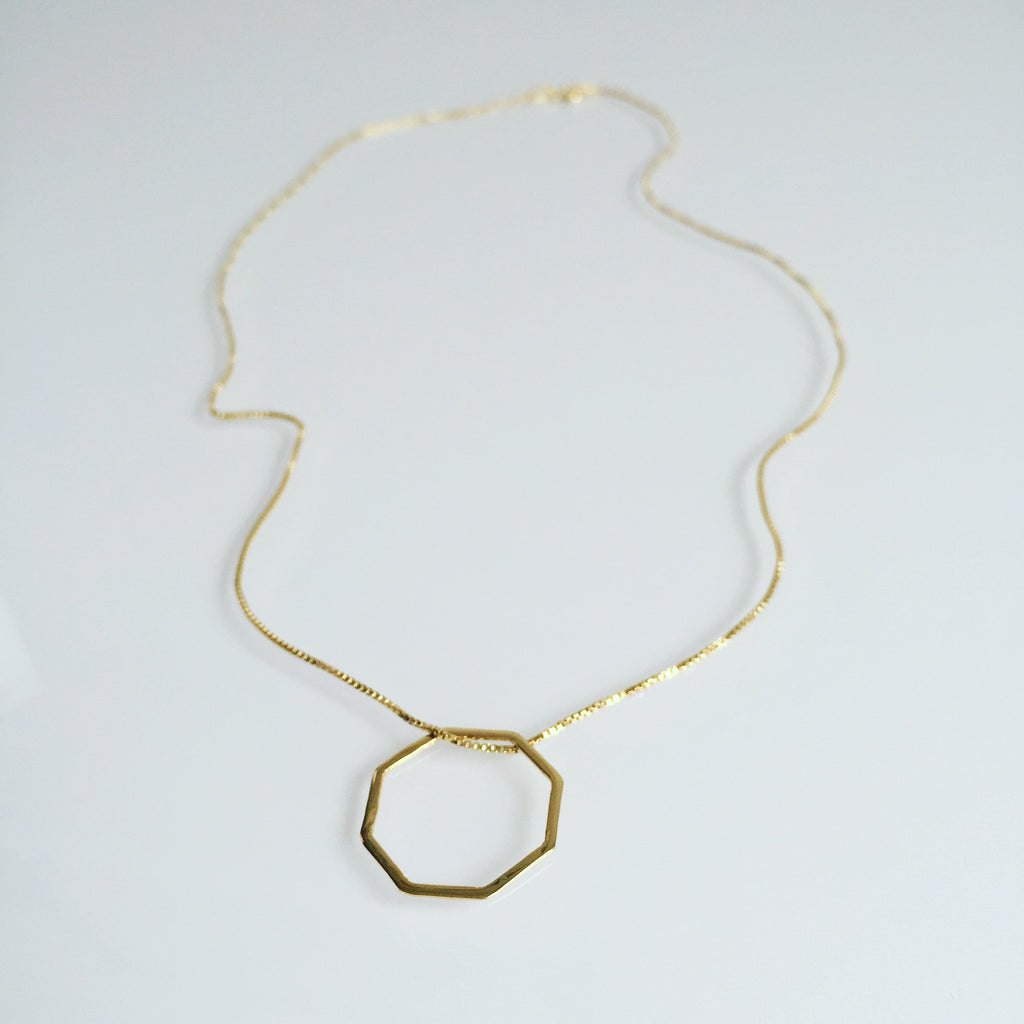 Octagon necklace gold plated