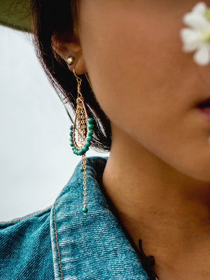 Hildur Earrings 'B' - Turquoise 14k Gold Filled Frames and Chain - The Bead N Crystal & Enclave Gems
