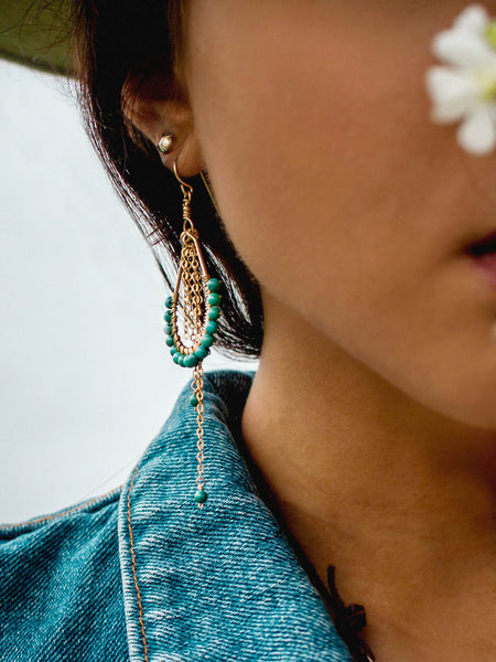 Hildur Earrings 'B' - Turquoise 14k Gold Filled Frames and Chain